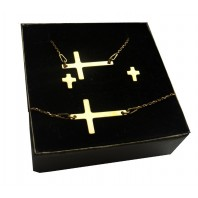 Złoty komplet biżuterii CELEBRYTKA - KRZYŻ