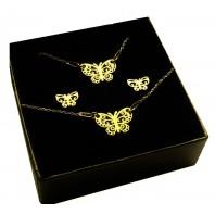 Złoty komplet biżuterii CELEBRYTKA - MOTYL AŻUR