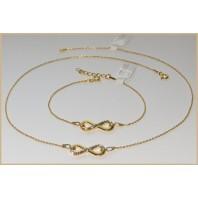 Złoty komplet biżuterii CELEBRYTKA - INFINITY + SWAROVSKI