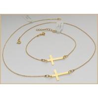 Złoty komplet biżuterii - CELEBRYTKA - KRZYŻ