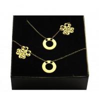 Złoty komplet biżuterii - CELEBRYTKA - 2 zawieszki- KÓŁKO I KONICZYNA