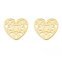 Złote kolczyki sztyfty ażurowe serca srebro 925
