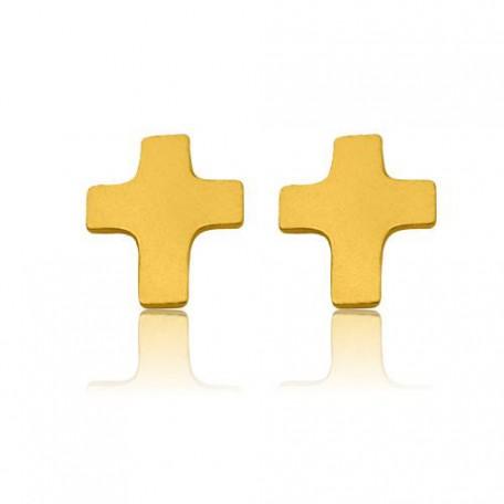 Złote kolczyki sztyfty krzyżyki krzyże srebro 925