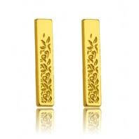 Złote kolczyki sztyfty blaszki długie srebro 925
