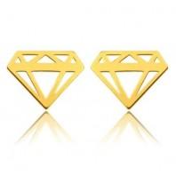 Złote kolczyki sztyfty diament srebro 925