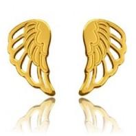 Złote kolczyki sztyfty skrzydła srebro 925