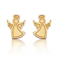 Złote kolczyki sztyfty aniołki srebro 925