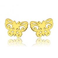 Złote kolczyki sztyfty motylki srebro 925