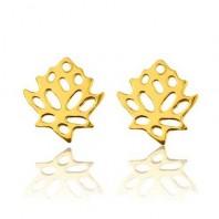 Złote kolczyki sztyfty kwiat lotosu srebro 925