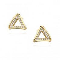Złote kolczyki sztyfty trójkąty cyrkonie srebro 925 pozłacane