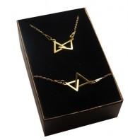 Złoty komplet CELEBRYTKA trójkąty