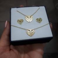 Komplet biżuterii - złoty AŻUR