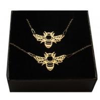 Złoty komplet pszczółka ORIGAMI CELEBRYTKA