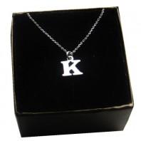 Srebrny łańcuszek z literką K