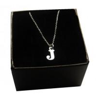 Srebrny łańcuszek z literką J
