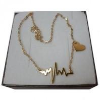 Złoty naszyjnik CELEBRYTKA linia życia EKG + serce