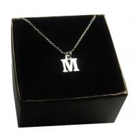 Srebrny łańcuszek z literką M - krótki 40cm