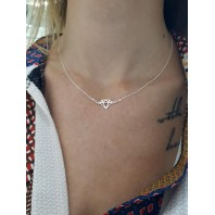 Srebrny naszyjnik celebrytka diament