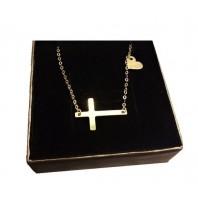 Złoty łańcuszek z krzyżykiem + serce 50 cm