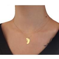 Złoty naszyjnik CELEBRYTKA stópka + Swarovski