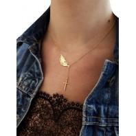 Złoty naszyjnik piórko + krzyżyk