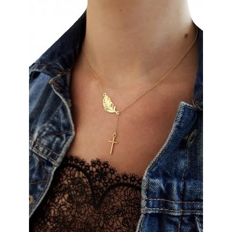 Złoty naszyjnik krzyżyk + piórko
