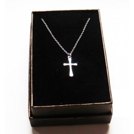 Srebrny krótki łańcuszek z krzyżykiem 50 cm
