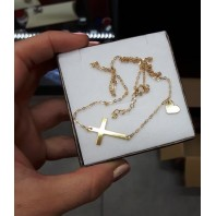 Złoty łańcuszek z krzyżykiem + serce 38 cm