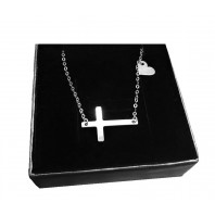 Srebrny łańcuszek z krzyżykiem + serce 45 cm