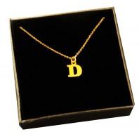 Złoty Naszyjnik łańcuszek literka D srebro 925