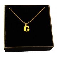 Złoty Naszyjnik łańcuszek literka G srebro 925