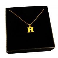 Złoty Naszyjnik łańcuszek literka H srebro 925