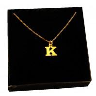 Złoty Naszyjnik łańcuszek literka K srebro 925