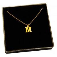 Złoty Naszyjnik łańcuszek literka M srebro 925