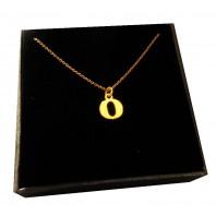 Złoty Naszyjnik łańcuszek literka O srebro 925