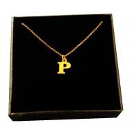 Złoty Naszyjnik łańcuszek literka P srebro 925