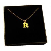 Złoty Naszyjnik łańcuszek literka R srebro 925