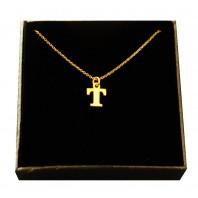 Złoty Naszyjnik łańcuszek literka T srebro 925