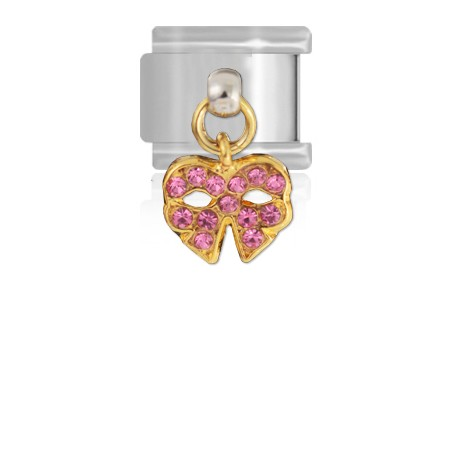 Wisząca różowa kokardka wysadzana cyrkoniami, ogniwo do Maybeme
