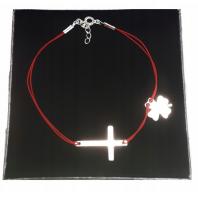 Bransoletka sznurkowa krzyżyk SREBRO 925 GRAWER