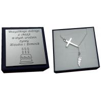 Naszyjnik łańcuszek krzyżyk piórko SREBRO + GRAWER 50 cm