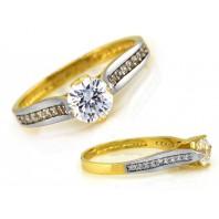 ZŁOTY pierścionek zaręczynowy 585 ROSIE GRAWER r 16