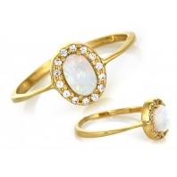 Śliczny złoty pierścionek z opalem 585