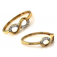 Złoty pierścionek INFINITY CYRKONIE 585 rozmiar 17