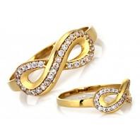 Złoty pierścionek nieskończoność INFINITY 585 rozmiar 20