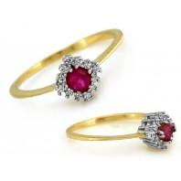 Złoty pierścionek z rubinem 333 rozmiar 13
