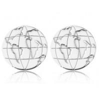Kolczyki sztyfty kółka ziemia planeta kula ziemska globus srebro 925