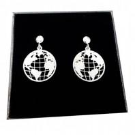 Kolczyki sztyfty wiszące ziemia planeta kula ziemska globus srebro 925
