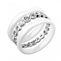 Dwa białe pierścionki ceramiczne i pierścionek srebrny z cyrkoniami - Nieskończoność r.14