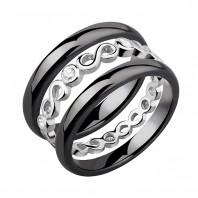Dwa czarne pierścionki ceramiczne i pierścionek srebrny z cyrkoniami - Nieskończoność r.14